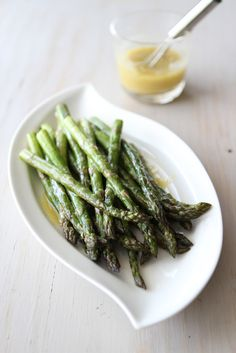 Roasted Asparagus Recipe with Miso Lime Dressing  from @Cookin' Canuck Dara Michalski