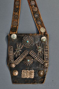Navajo Man's Bandolier Bag, c. second quarter century, commercial leather with various silver buttons and collar decorations, some with turquoise settings, the strap with Mercury dimes and stamped buttons Cowgirl Bling, Cowgirl Style, American Indian Jewelry, Native American Indians, Turquoise Jewelry, Navajo, Purses And Bags, Silver Buttons, Southwest Jewelry