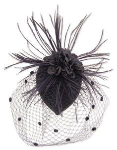 Black Feather Fabric Flower Net Fascinator Hair Clip and Cocktail Hat $ 12.99