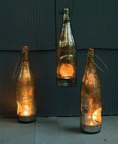 Mini wine bottle lanterns... What a stunning idea!
