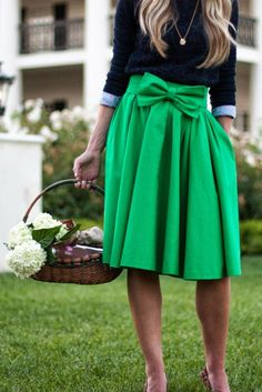 Green bow midi, blue sweater over button down