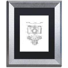 Trademark Fine Art Photographic Camera Patent 1962 White Canvas Art by Claire Doherty Black Matte, Silver Frame, Size: 11 x 14, Multicolor