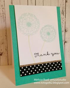 Thank You card using Amuse Studio A Hundred Wishes and Essential Sentiments Too.