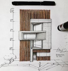 Interesting Find A Career In Architecture Ideas. Admirable Find A Career In Architecture Ideas. Sketchbook Architecture, Architecture Concept Drawings, Plans Architecture, Architecture Panel, Architecture Portfolio, Architecture Details, Interior Architecture, Design Exterior, Facade Design