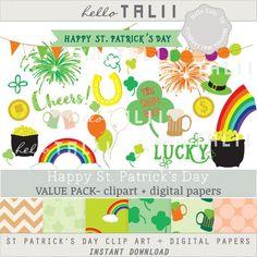 St Patrick S Day Bundle Clipart Digital Papers Happy St Etsy St Patricks Day Clipart Digital Paper Clip Art