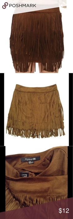 "Brown Fringe Skirt Brown skirt with fringe all over. Size M. Skirt is about 14.5"" long. Never worn with tags. Forever 21 Skirts"