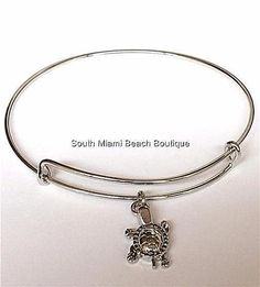 Silver Sea Life Turtle Charm Bracelet Beach Island Rhodium Plated USA Seller #SouthMiamiBeachBoutique #SlideSlider
