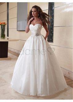 Satin Prinzessin Organza kurzes bodenlanges aufgeblähtes trägerloses Brautkleider