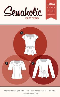 Buy a women's blouse pattern for Peter Pan collar blouse, fitted blouse with darts, long sleeved blouse or 3/4 sleeves, cap sleeve blouse sewing pattern with tie belt or contrast collar. Independent pattern designer. Made in Canada. Printed paper sewing pattern.