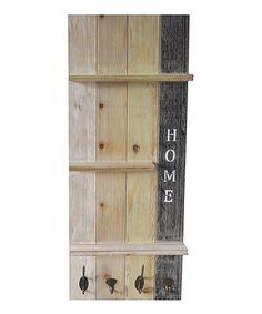 Look what I found on #zulily! Wooden Three-Tier & Hooks Wall Shelf #zulilyfinds