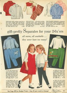 All sizes   1962-xx-xx Spiegel Christmas Catalog P123   Flickr - Photo Sharing! Budget Holidays, Vintage Girls Dresses, Christmas Catalogs, Size Chart, Family Guy, Ads, Retro, Knitting, Fictional Characters
