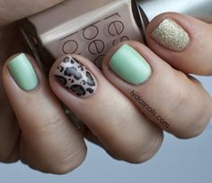Nail Art Tutorial, Nail Designs, Nail Art How To, Mint Leopard Cheetah Nails | NailIt! Magazine