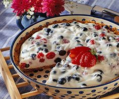 Tangy sour cream and juicy sweet berries merge for a perfect partnership in this luscious refrigerator pie.