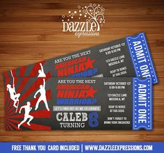 Printable Inspired American Ninja Warrior Chalkboard Ticket Birthday Invitation | Kids Obstacle Course Party | Crossfit | Exercise | Workout | DIY Print Your Own | Digital File | FREE thank you card included | Printable Matching Party Package Decorations Available! Banner | Signs | Labels | Favor Tags | Water Bottle Labels and more! www.dazzleexpressions.com