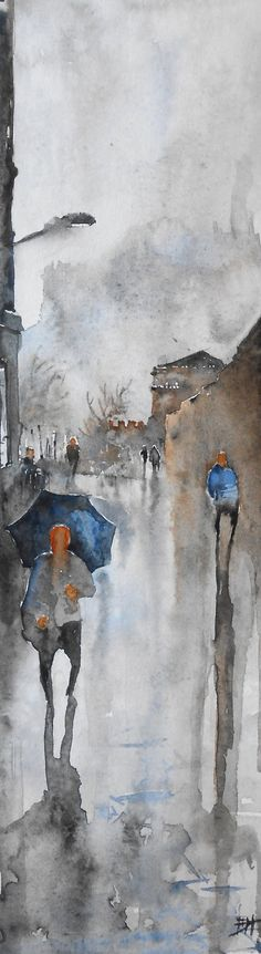 Glasgow in the Rain, Original Watercolor Painting by Duncan Halleck 37cm x 13.5cm
