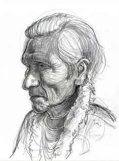 Native American with earrings by Caricature80, via Flickr
