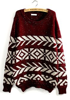 Red Geometric Print Long Sleeve Wool Blend Sweater// I wish I saw this when making my Christmas list. Cute Sweaters, Winter Sweaters, Christmas Sweaters, Sweater Weather, Christmas Outfits, Holiday Sweater, Fall Winter Outfits, Autumn Winter Fashion, Fall Fashion