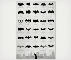 Now that the final Dark Knight film in the trilogy has come and gone, the grief of knowing there might not be another Batman movie for quite sometime has set in. In remembrance of the good times, adorn your wall with this Evolution of Batman #Logo #print.