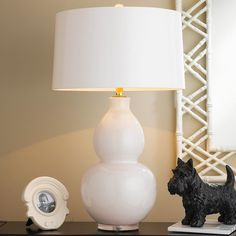 Pop Color Modern Ceramic Table Lamp bone_white_with_gray_lining