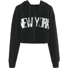 Drawstring New York Cropped Hoodie Black S ($20) ❤ liked on Polyvore featuring tops, drawstring top, crop tops and cut-out crop tops