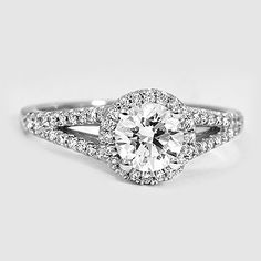 18K White Gold Aurora Ring // Set with a 0.82 Carat, Round, Super Ideal Cut, F Color, VS2 Clarity Diamond #BrilliantEarth