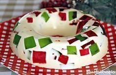 PANELATERAPIA - Blog de Culinária, Gastronomia e Receitas: Mosaico de Gelatina de Natal Ingredientes: 1 gelatina de morango; 1 gelatina de limão; 2 pacotinhos de gelatina incolor preparados como indica na embalagem; 1 garrafinha de leite de coco; 1 lata de leite condensado; 1 lata (ou caixinha) de creme de leite.