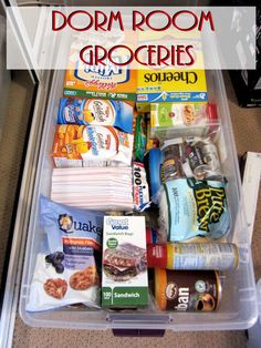 """Dorm Room Groceries"" Ideas for College Kids' care packages College Essentials, College Hacks, College Necessities, Dorm Hacks, Dorm Room Necessities, College Recipes, College Checklist, Room Essentials, College Planner"