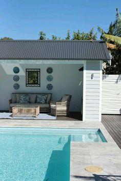 A quaint pool patio area