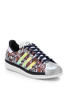 adidas Originals by Mary Katrantzou Badge-Print Shell-Toe Sneakers