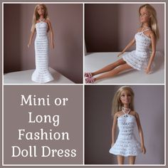FREE crochet pattern for a Mini or Long Crochet Fashion Doll Dress.