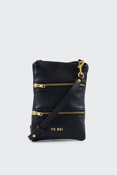 Yu Mei2/6 Georgie Bag - blackSize: 21.5cmx15.5cmMaterials:Deer nappa and brass hardware- Two zip closure pockets- Back zip closure- Brass hardware- YKK zips- From the 'Fine China' collection- Handmade in New Zealand