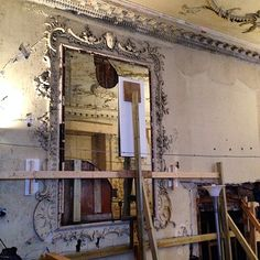 Propping up the plaster in the saloon, Poltimore House, Devon My Ancestry, Exeter, Devon, Mirrors, Oversized Mirror, Restoration, Plaster, Frame, Cinema