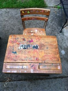 old school desk makeover, painted furniture