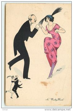 """""""Le Turkey Trot"""" ~ Vintage French dance postcard by Xavier Sager, ca. late 1910s"""