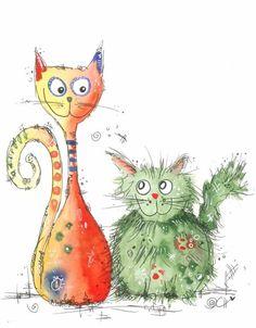 """Feiere mit dem niedlichen, kunstvollen Katzen Poster """"Best friends"""" deine Freundschaften oder schenke es deiner besten Freundin als kleines Dankeschön.                                                                                                                                                                                 Mehr"""