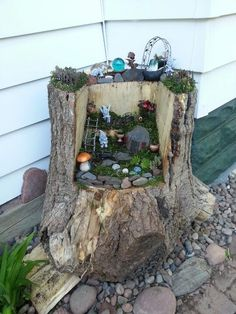 """Love this fairy garden in a carved out tree stump, created by Jamie Koehler - image shared by Sparkle - Fairy, Gnome and Dragon Kits ("""",)"""