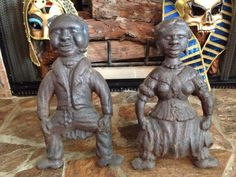 ANTIQUE BLACK AMERICANA BUTLER & MAID CAST IRON ANDIRONS Early 20th C Fireplace Accessories, Hearth, Butler, Maid, Cast Iron, Baskets, Statue, Antiques, House