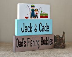 Fishing Buddies Block Sign - Daddy's Fishing Buddies - Christmas Gift for Him - Fathers Day Gift - Dad's Birthday Present - Block Home Decor