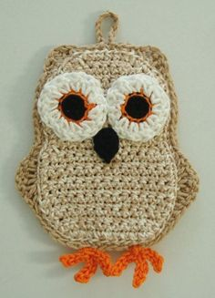 Funky Little Owl Potholder Crochet PDF Pattern by katyscrochet. , via Etsy.