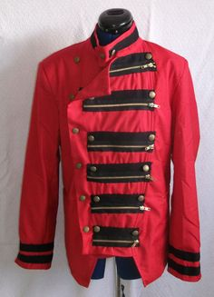 Original steam-punk military/punk style red jacket with black zip embellishments and brass military/ steampunk buttons. Lined.. SIze Medium  Orders taken for other sizes/colours- black with red embellishments  Small/Medium/Large | Shop this product here: spree.to/246 | Shop all of our products at http://spreesy.com/SexyHeksieLingerie    | Pinterest selling powered by Spreesy.com