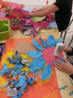 3rd Grade Art: making of newspaper flowers