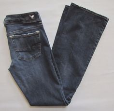 American Eagle Skinny Kick Boot Jeans 6 Long Super Stretch X4 Dark Shadow Denim #AmericanEagleOutfitters #BootCutSlimSkinny