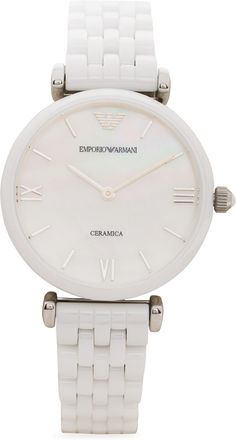 Emporio Armani AR1485 Analog Watch  - For Women Dial Color: White,Dial Shape: Round,Strap Color: White lowest price in India on February 2017 | On Paisaone