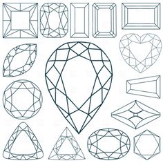 """Buy the royalty-free Stock vector """"Stone shapes against white background, abstract vector art illustration"""" online ✓ All rights included ✓ High resoluti. Gem Drawing, Line Drawing, Crystal Drawing, Jewel Tattoo, Jewelry Design Drawing, Jewelry Illustration, Jewellery Sketches, Bullet Journal Ideas Pages, Art Lessons"""