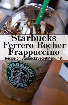 Starbucks Ferrero Rocher Frappuccino - - Based on the chocolate that's so deliciously decadent, it's wrapped in gold. Starbucks Hacks, Starbucks Secret Menu Drinks, My Starbucks, Starbucks Quotes, Frappuccino Recipe, Starbucks Frappuccino, Ferrero Rocher, Secret Menu Items, Coffee Recipes
