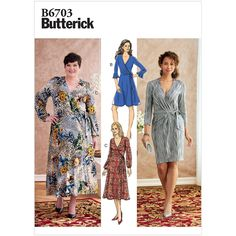 Items similar to Sewing Pattern Women's Wrap Dress Pattern, Straight Dress Pattern, Flared Dress Pattern, Butterick Sewing Pattern 6703 on Etsy Butterick Sewing Patterns, Dress Sewing Patterns, Pattern Sewing, Patron Simplicity, Patron Butterick, Knit Wrap, Straight Dress, Flare Dress, Dresses With Sleeves
