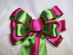 Bright Pink & Green Satin Bow Wired Ribbon Handmade Wreath Spring Easter Birthday Decoration Gift We Neon Green, Pink And Green, Tree Topper Bow, Custom Bows, Gift Bows, Green Satin, Wired Ribbon, Birthday Decorations, Bright Pink