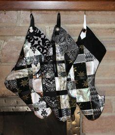 Black and Silver Woven Ribbon Christmas Stocking - etsy.com/hammerfairy