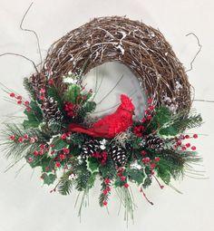 Christmas Wreath Cardinal Wreath Christmas by CrookedTreeCreation