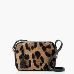 "Signet bag in Italian leopard-printed calf hair / $298 / 6 1/8""H x 8 3/8""W x 2 3/4""D. / j.crew"